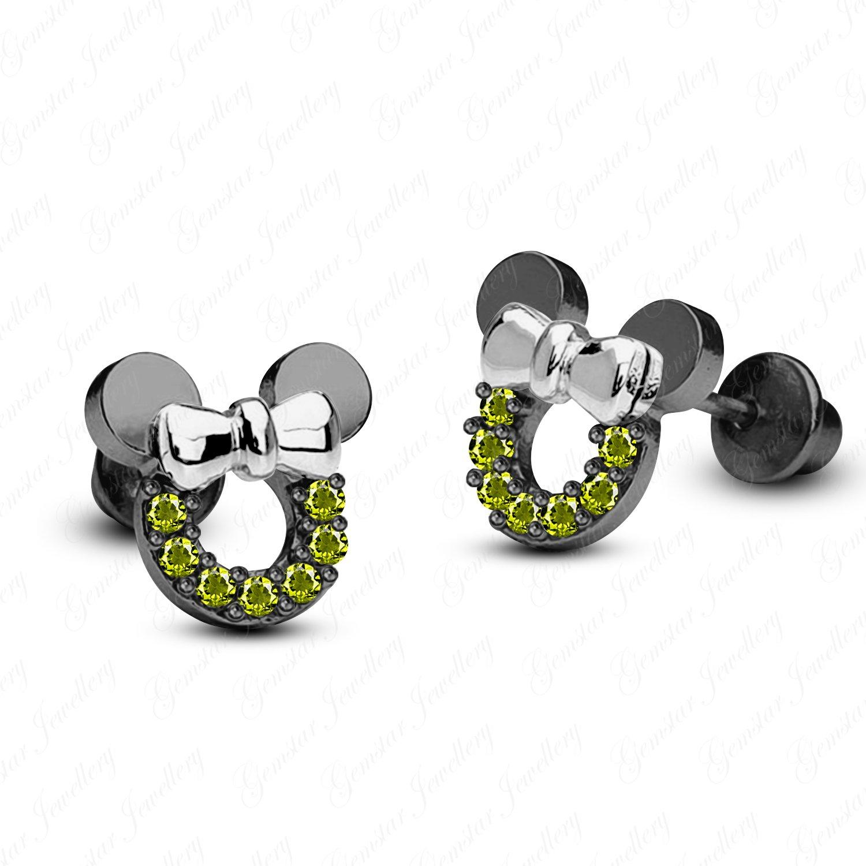 Gemstar Jewellery Round Shape Green Peridot 18K Two Tone Gold Finish Minnie Mouse Disney Stud Earrings