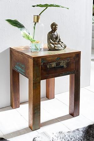 Shabby-Chic Nachttisch - Nachtschrank Mango-Holz mit Schublade ...