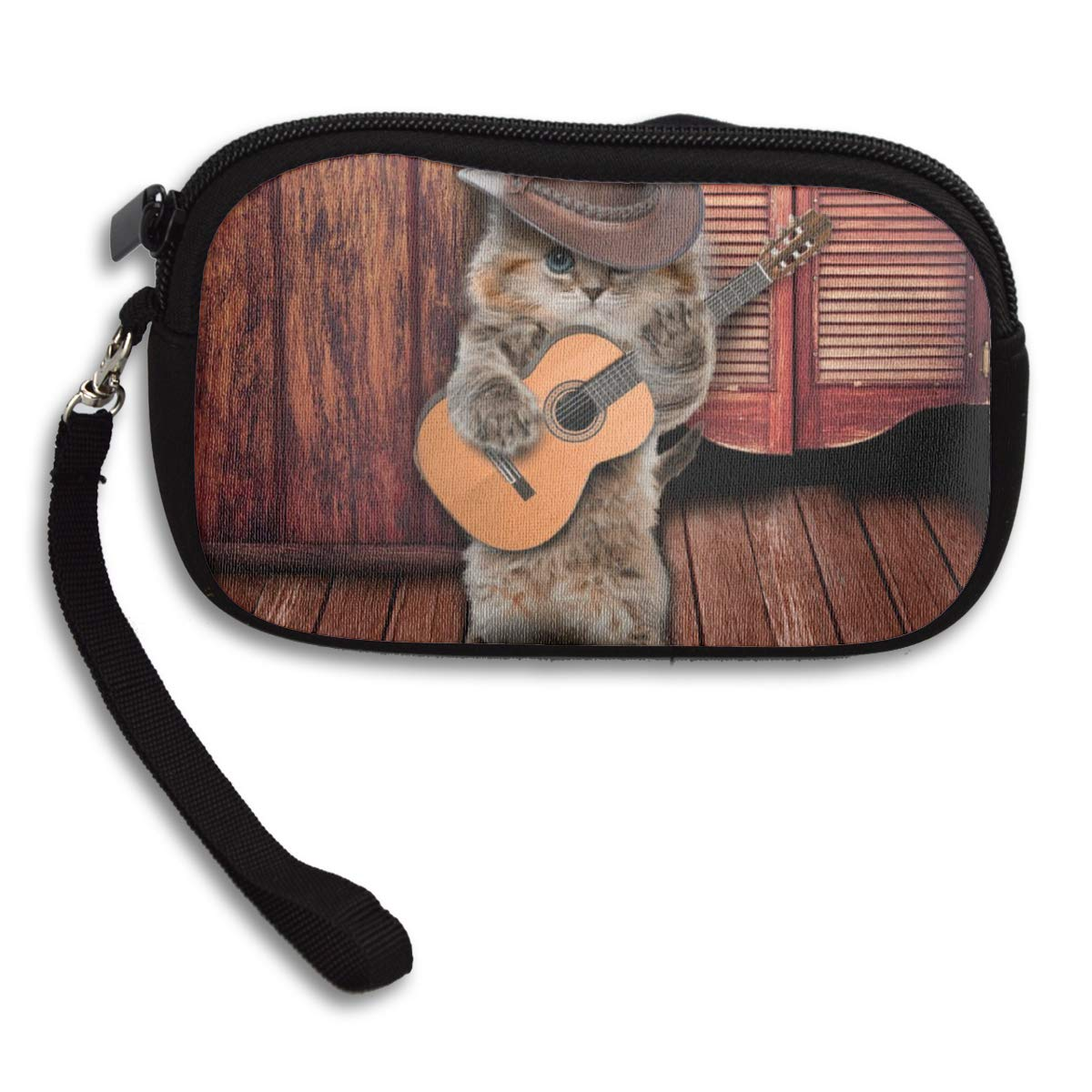 Country Funny Guitarist Cat Play Guitar Coin Pouch Clutch Purse Wristlet Wallet Phone Card Holder Handbag
