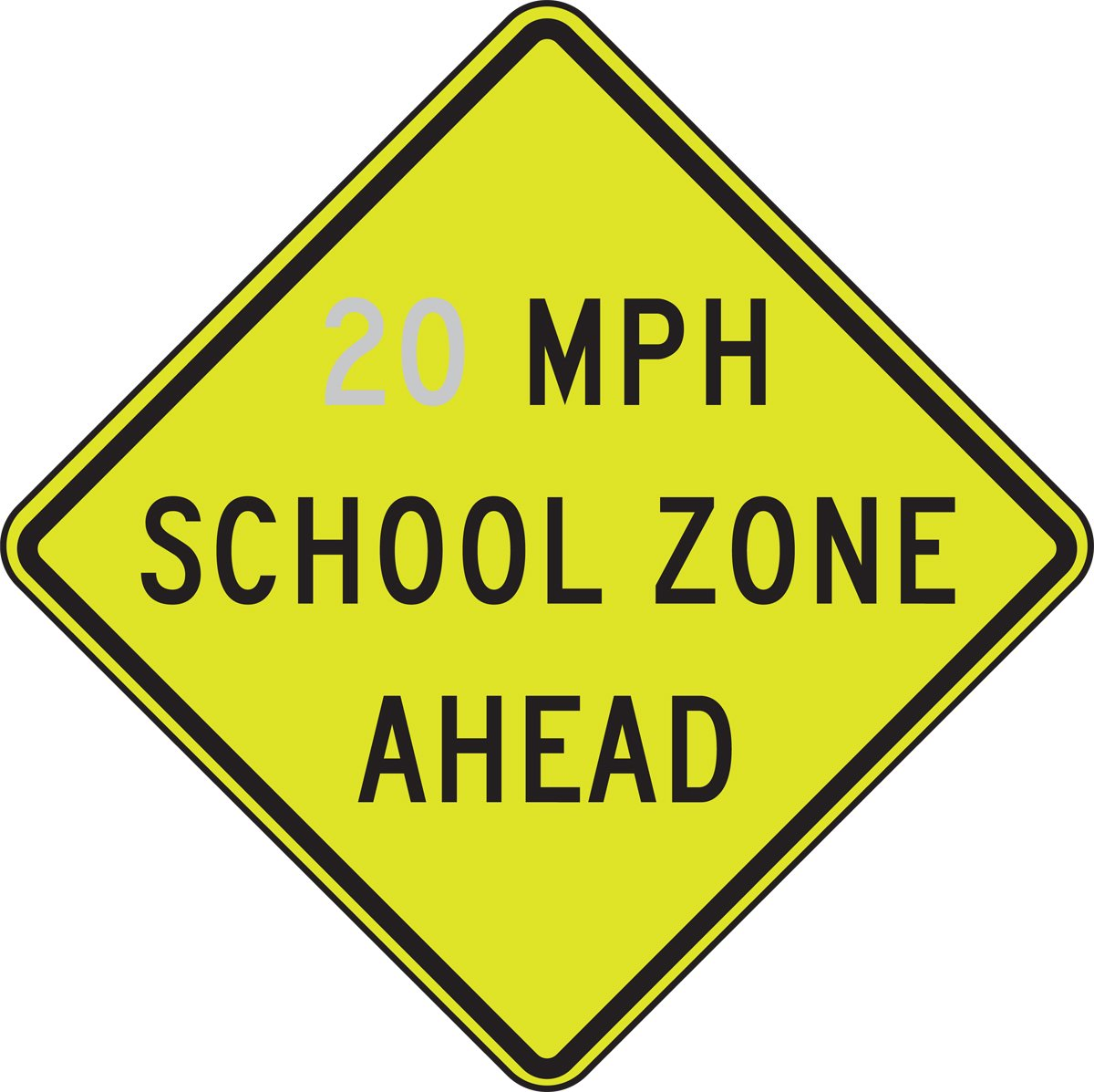 Accuform __ MPH SCHOOL ZONE AHEAD (FRW27020)