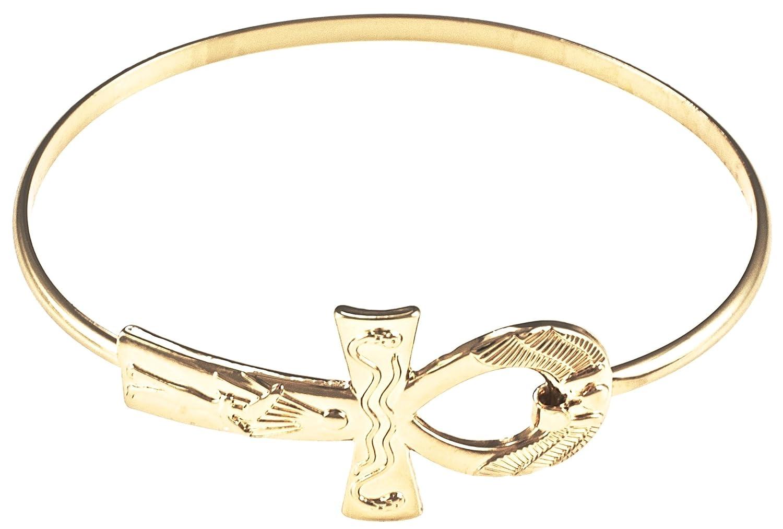 GWOOD Ankh Egyptian Bangle Bracelet Gold Color Clip Closure