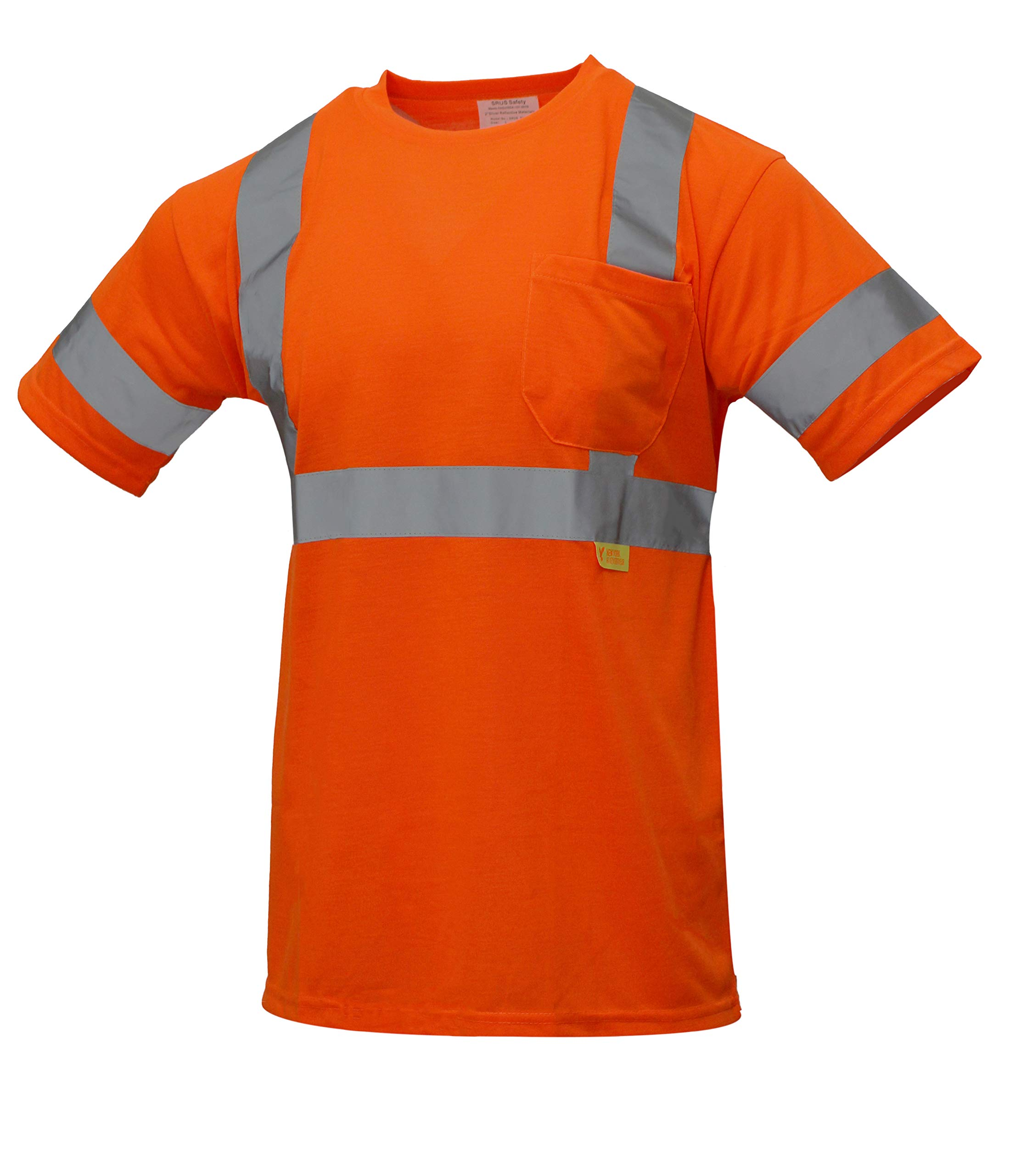 NY Hi-Viz Workwear 9081 Class 3 High Vis Reflective Short Sleeve ANSI Safety Shirt (SET OF 3(2XL), ORANGE)