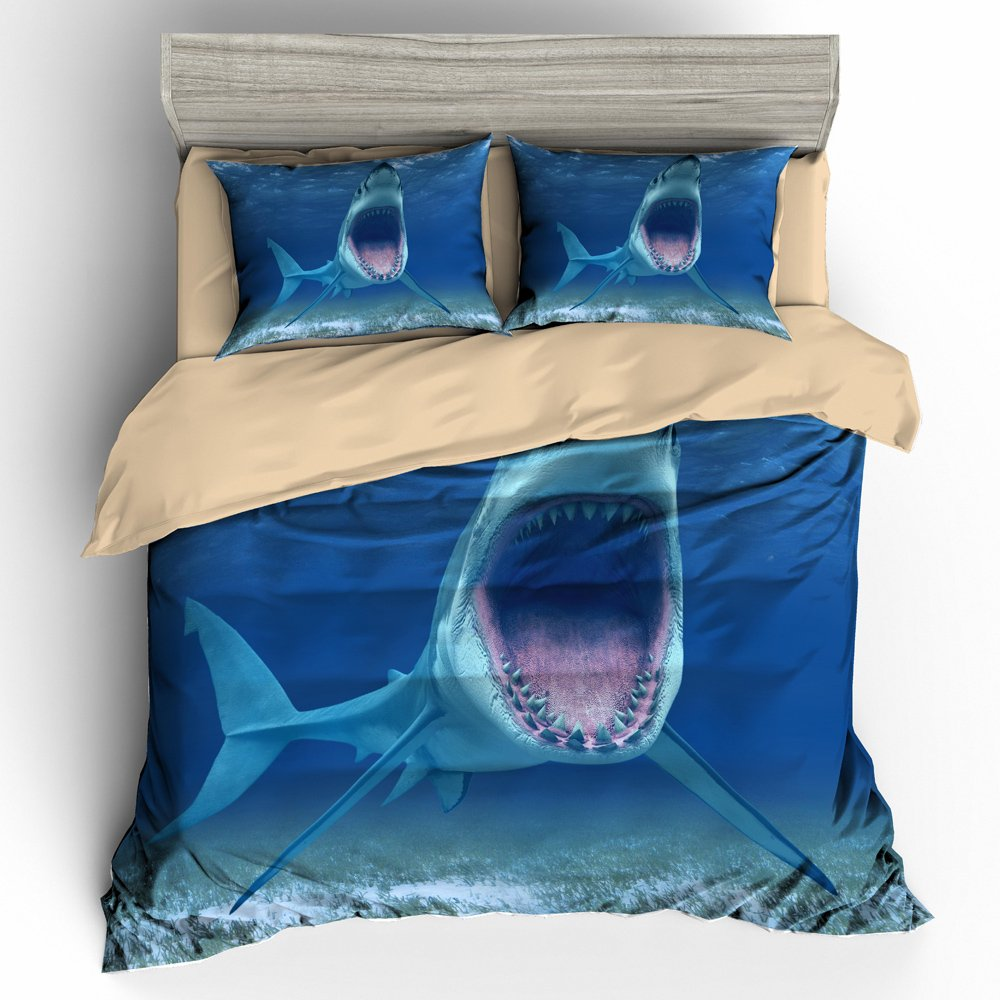 BOMCOM 3D Digital Printing White Shark Swims with an Open Mouth Megalodon 3-Piece Duvet Cover Sets 100% Microfiber Blue (Big Mouth Shark, Queen)