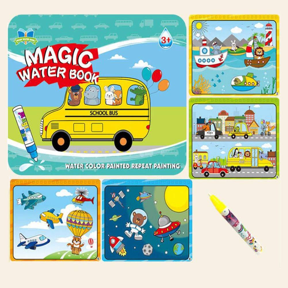 Kinder magische magische Magie des klaren Wassers Linyi Färbung Farbe Malerei Kindergarten Schreiben Tuch Tierhandel Englische Digitale Reise Welt Anzug,Blau B07MXCQY4W | Neuheit Spielzeug