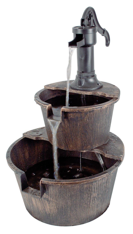 Generic rrel Pump Patio Deck tain Cascade Outdoor e Cascade Ou 2Tier Garden Barrel ountai Pump Fountain en Barrel Water Feature rden Barre