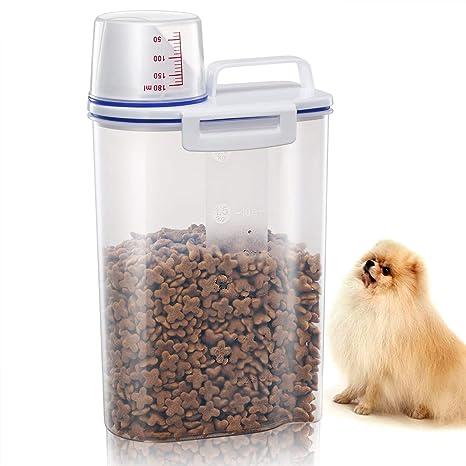 GLCON - Recipiente hermético para comida de mascotas (plástico sin BPA, dispensador de alimentos