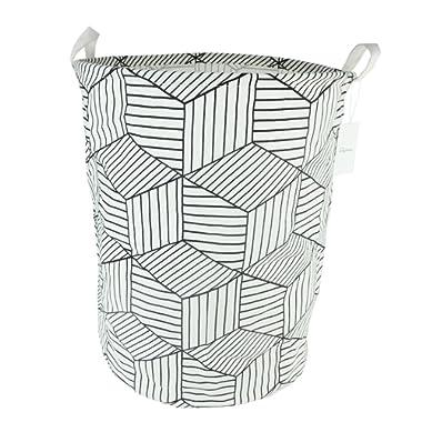 19.7  Large Sized Waterproof Coating Ramie Cotton Fabric Folding Laundry Hamper Bucket Cylindric Burlap Canvas Storage Basket with Stylish Geometry Design (White)