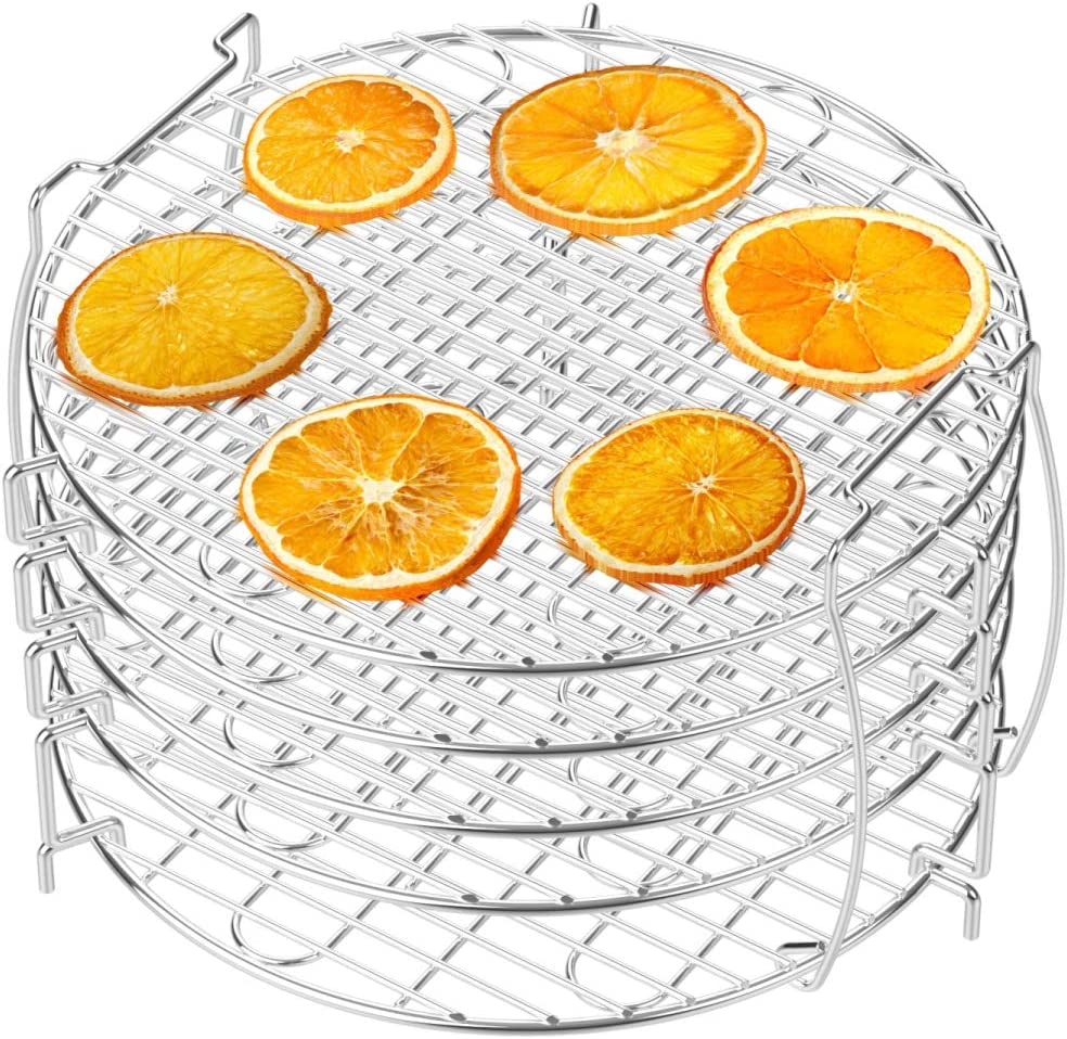 Dehydrator Rack, Packism 5 Tier Food Dehydrator Stand for Ninja Foodi Accessories, Fits 6.5 qt and 8 qt Ninja Foodi Pressure Cooker and Air Fryer, Food Grade 304 Stainless Steel, Silver
