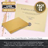 Shimmer Paper - 96 Pack 250gsm Gold Metallic Paper, Double Sided, Laser Printer Friendly - Perfect for Weddings, Baby Showers, Birthdays, Craft Use, Letter Size Sheets, 8.5 x 11 Inches