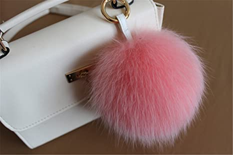cbe6c0473d65 HEARTFEEL Real Fox Fur Pom Pom Fur Ball Keychain Ball Fur Keychain   Bag  Purse Charm