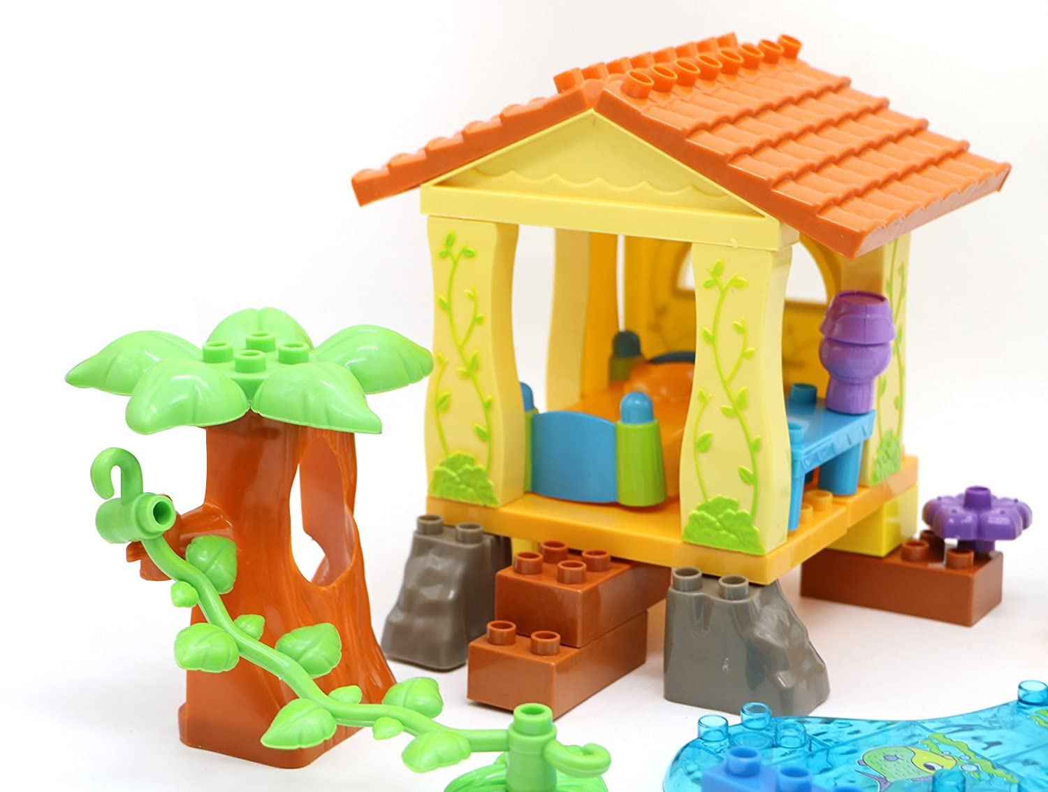 39 Piece Little Treasures Forest Tree House Play Set Pre-Kindergarten Large Building Block Toys for Toddlers
