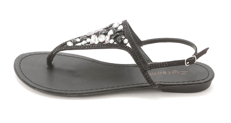 Zigi Soho Women's Fazed Flat Bejeweled Thong Sandals, Black, Size 10.0