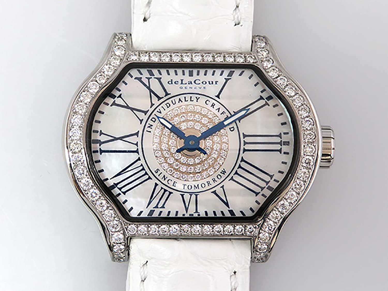 ドゥラクール DELACOUR シティ イーゴ レディ WAST1857-1128 ホワイトシェル文字盤 メンズ 腕時計 【中古】 B077S74JLN