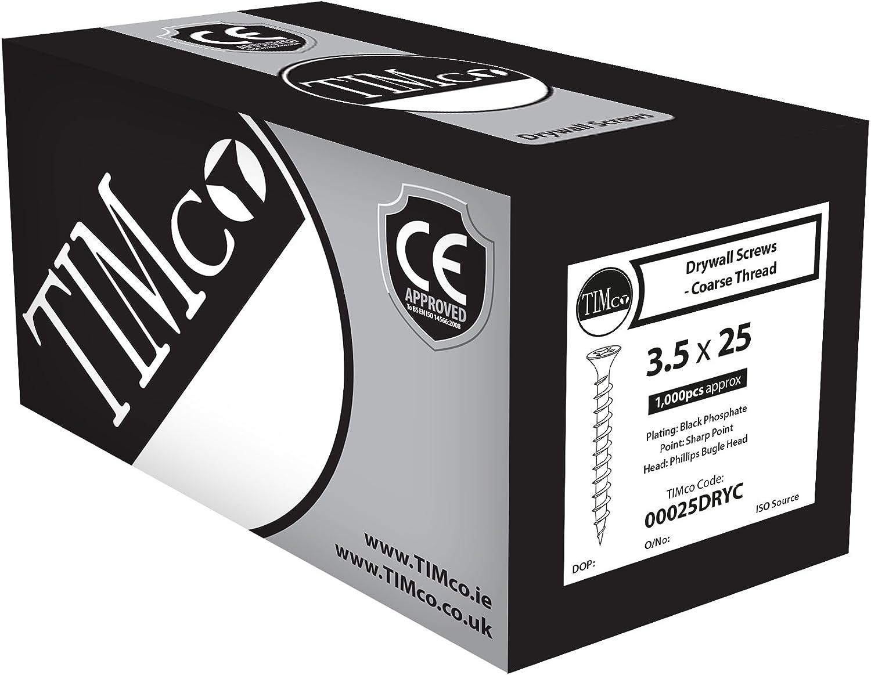 TIMco 00100DRYC PH2 Philips Coarse Drywall Screw 4.8 x 100 Black Box of 500