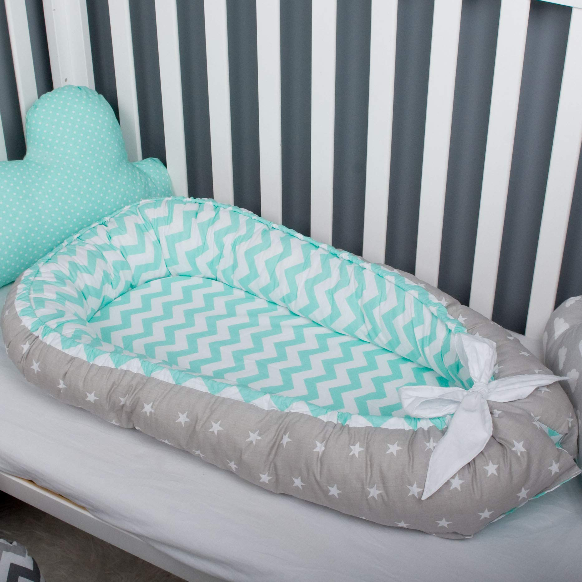Baby nest bed or toddler size nest mint chevron and stars, portable crib lounger baby bassinet co sleeper babynest bed travel pad pod for newborn Tummy Time