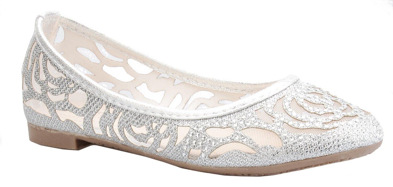 OLIVIA K Girl's Glitter and Mesh Detail Slip On Ballet Flats (Toddler/ Little Girl)