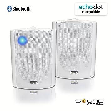 Bluetooth 5.25u0026quot; Indoor/Outdoor Weatherproof Patio Speakers (White   Pair) By