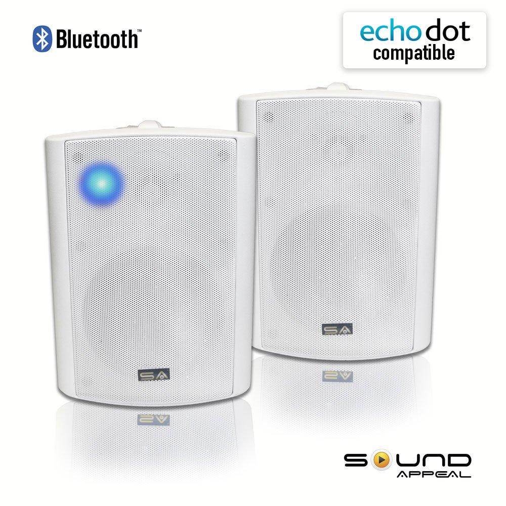 Bluetooth 5.25'' Indoor/Outdoor Weatherproof Patio Speakers (White- pair)-by Sound Appeal