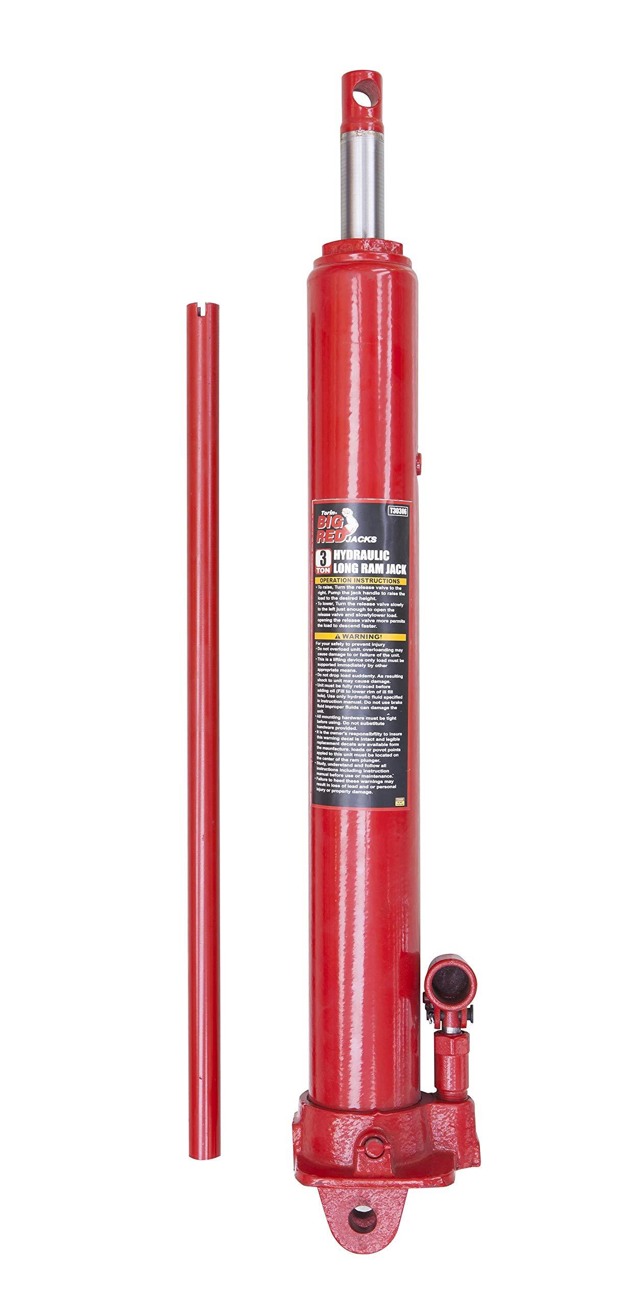 Torin Big Red Long Ram Hydraulic Jack: Single Piston, Clevis Base, 3 Ton Capacity by Torin