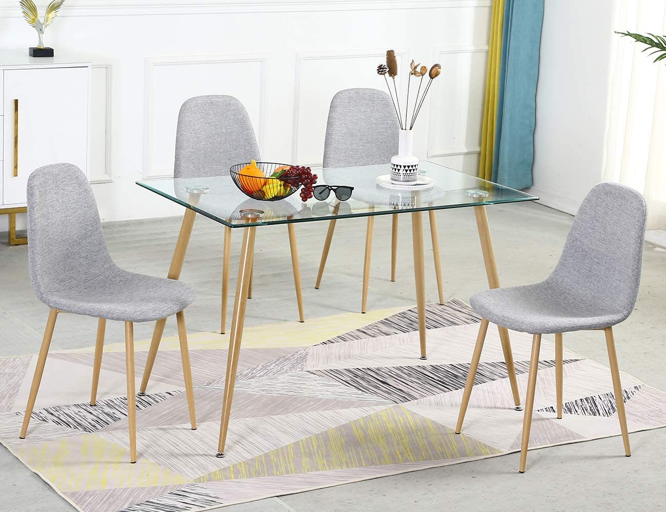Amazon Com Bacyion Glass Dining Table Set For 4 Modern Kitchen Table And Chairs Set For 4 Tempered Glass Dining Room Table Set And Velvet Dining Chairs 5 Pieces Dining Table Set For