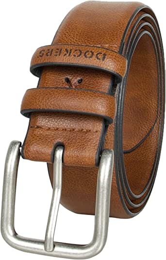 Dockers Men's Casual Leather Belt - 100% Soft Top Grain Genuine Leather Strap with Classic Prong Buckle,Brown,34