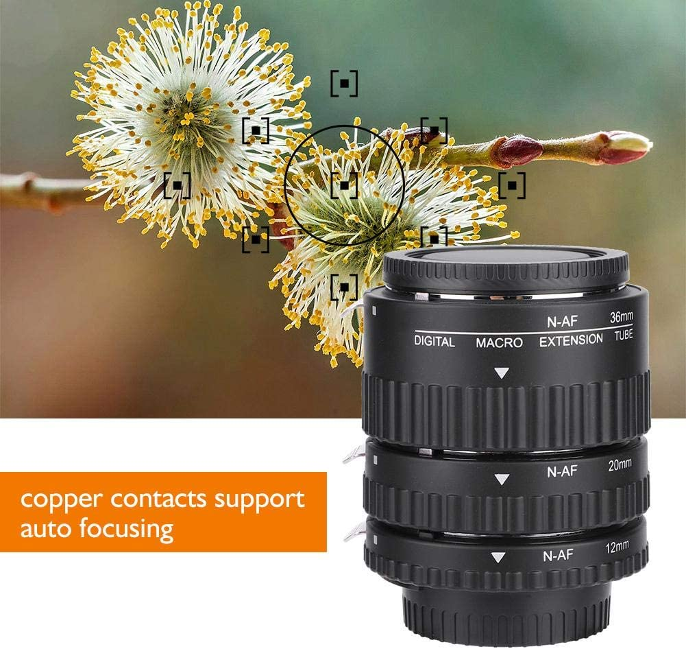 Acouto Macro Adapter Lens Auto Focusing,Auto Focusing Macro Extension Lens Tube 12mm+20mm+36mm for Nikon F Mount DSLR B
