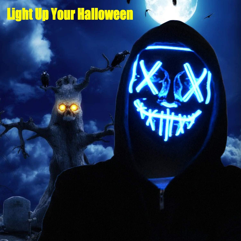 Halloween Mask LED Light Up Mask for Festival Halloween Costume Blue