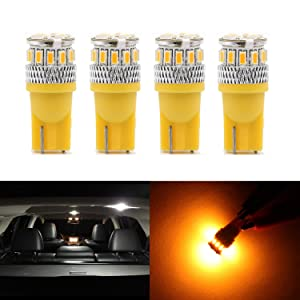 Dantoo 4pcs Super Bright T10 LED Bulbs 194 168 2825 175 192 W5W Wedge Dome Lights 3014 Chipset 18 SMD Amber Yellow Light Lamp for for Car Interior Map License Plate Trunk Parking Light