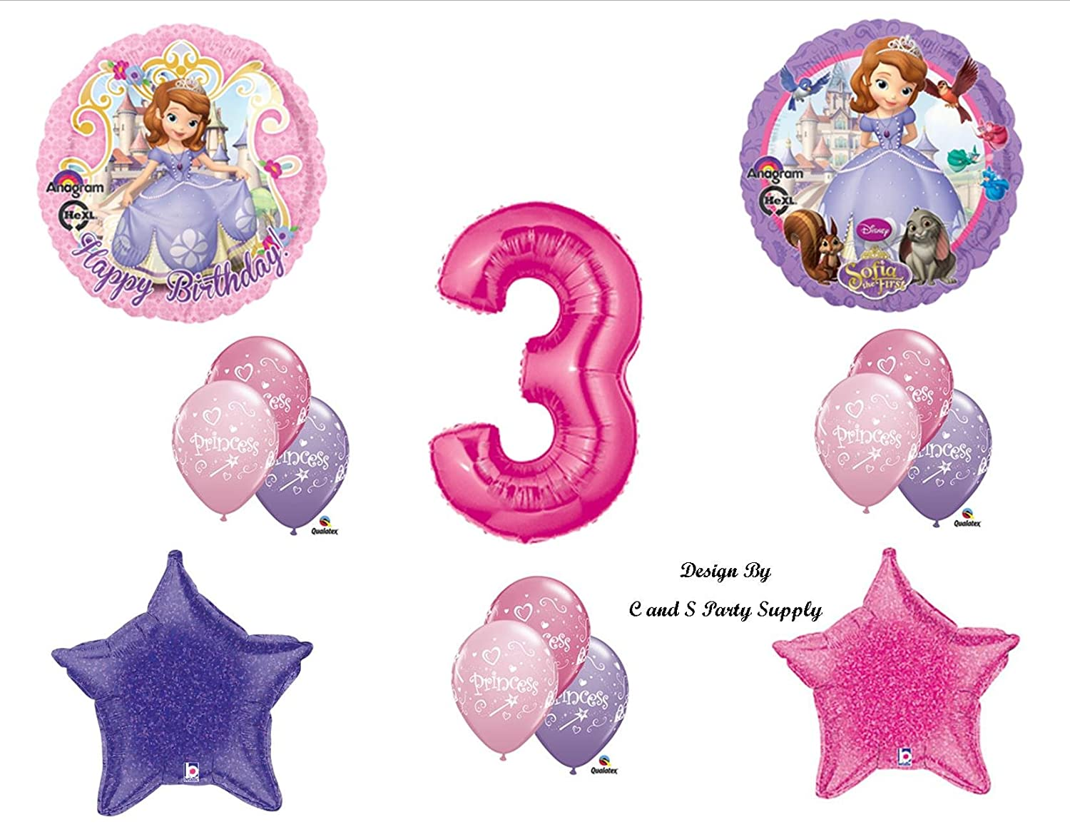 Amazon Disneys SOFIA THE FIRST THIRD 3RD Happy Birthday PARTY Balloons Decorations Supplies Toys Games