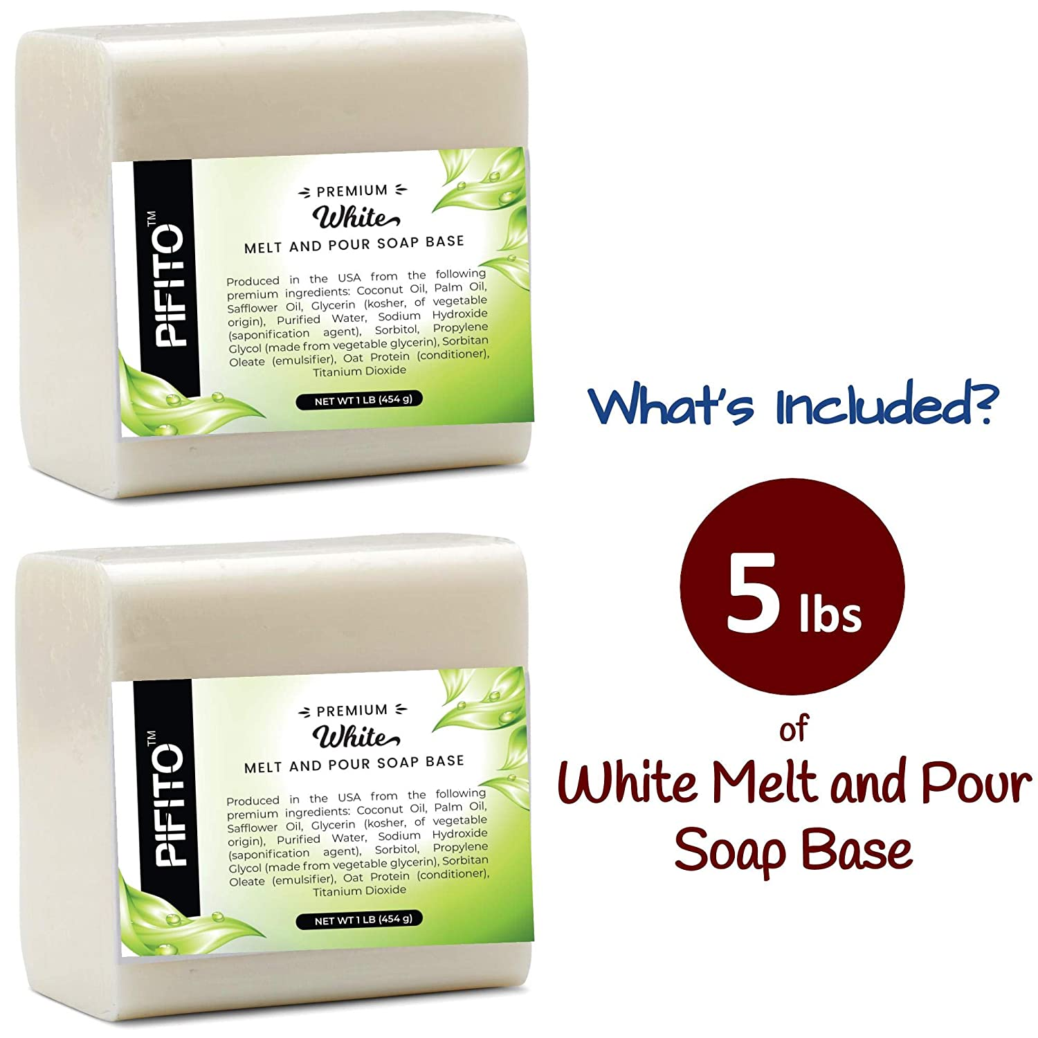 │ Premium 100/% Natural Glycerin Soap Base │ Luxurious Soap Making Supplies 3 lb Pifito White Melt and Pour Soap Base
