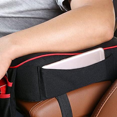 NAttnJf Soft Car Armrest Mat Cushion Mittelarmpolster Armlehnenbez/üge Aufbewahrungstasche Black