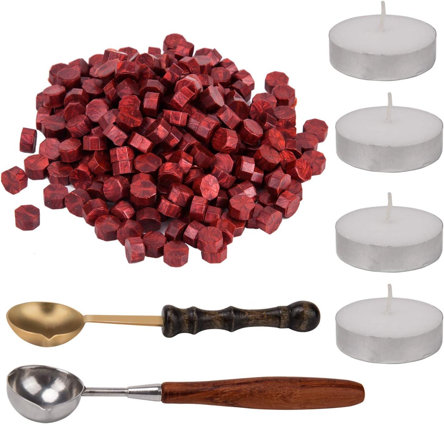 AIEX 200 Piezas Wax Seal PerlasKit de Sellos de Cera con 4 Piezas de Velas de Té y 2 Piezas de Cuchara de Fundir (Rojo)