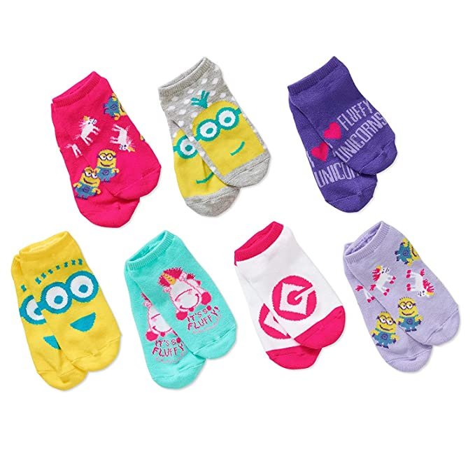 Despicable Me Minions Big Girls No shows Socks 7pairs Set Pink size Large 4-10