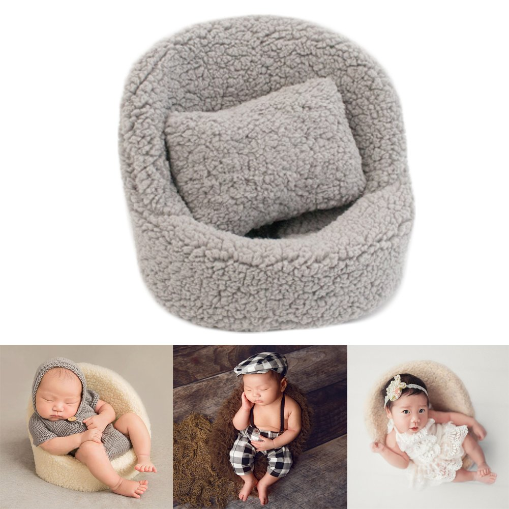 Zeroest Baby Photography Props Small Sofa Newborn Photo Shoot Posing Prop Monthly Chair Set (Gray) by Zeroest
