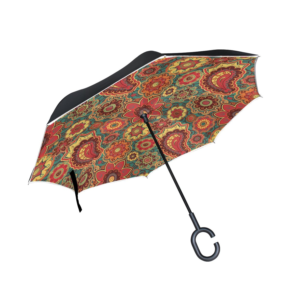 ALAZA Inside Out Folding Retro Colored Paisley Inverted Umbrella, Large Double Layer Outdoor Rain Sun Car Reversible Umbrella   B076T1LXZM