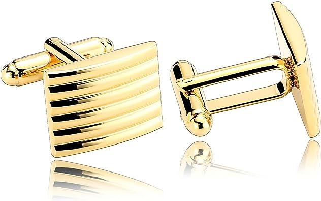 Beydodo Gemelos Hombre Rectangular Gemelos Camisa de Acero Inoxidable Gemelos Hombre Oro: Amazon.es: Joyería