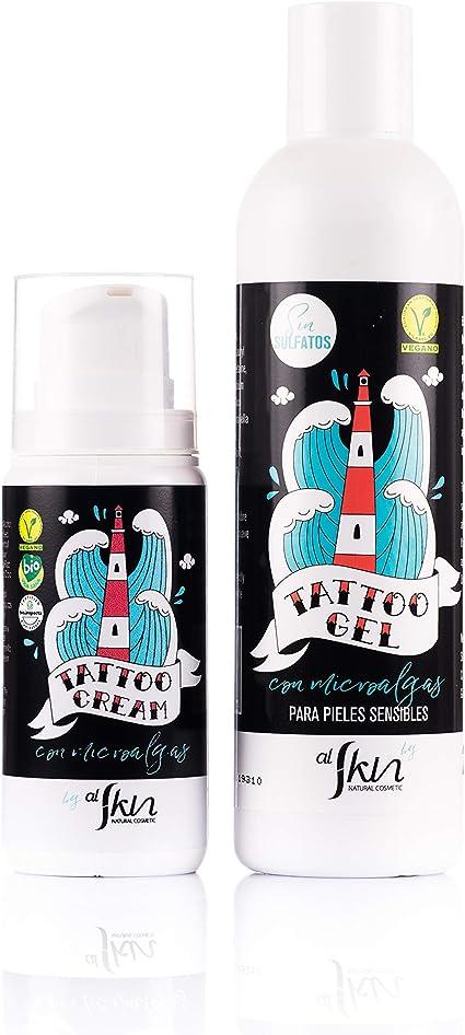 Pack cosmética para tatuajes | Crema 100ml y gel 250ml para reparar, hidratar, cicatrizar y proteger los tatuajes | Certificados como cosmética natural y veganos | Alskin: Amazon.es: Belleza