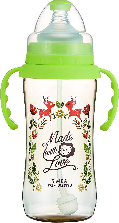 Green, 270ml Simba Handle Wonderland PPSU Wide Neck Feeding Bottle