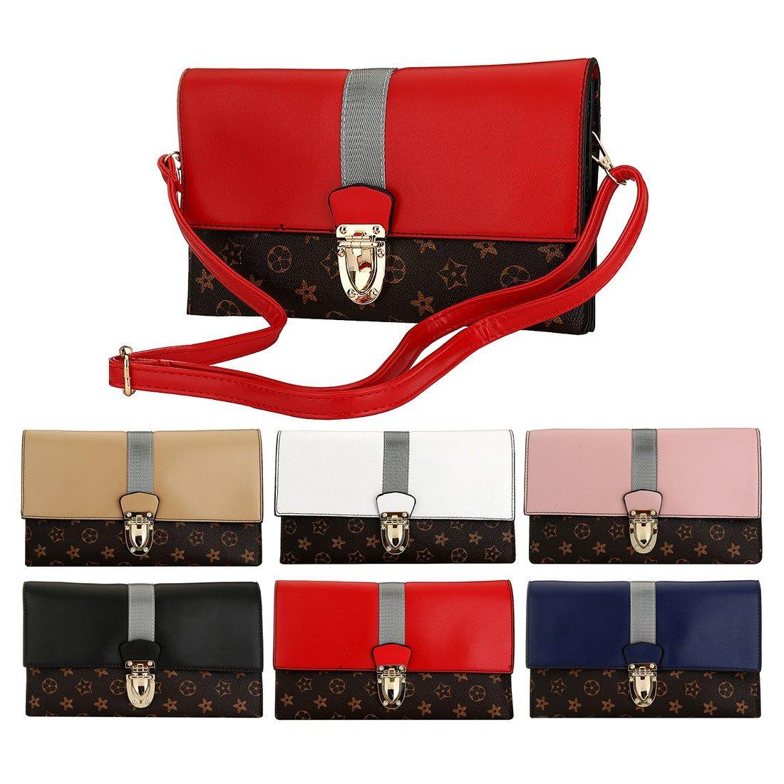 Designer Evening Bag Women Oversized Flower Retro Stripe Evening Clutch Handbag Wristlet Purse Crossbody Bags with Adjustable Strap Black
