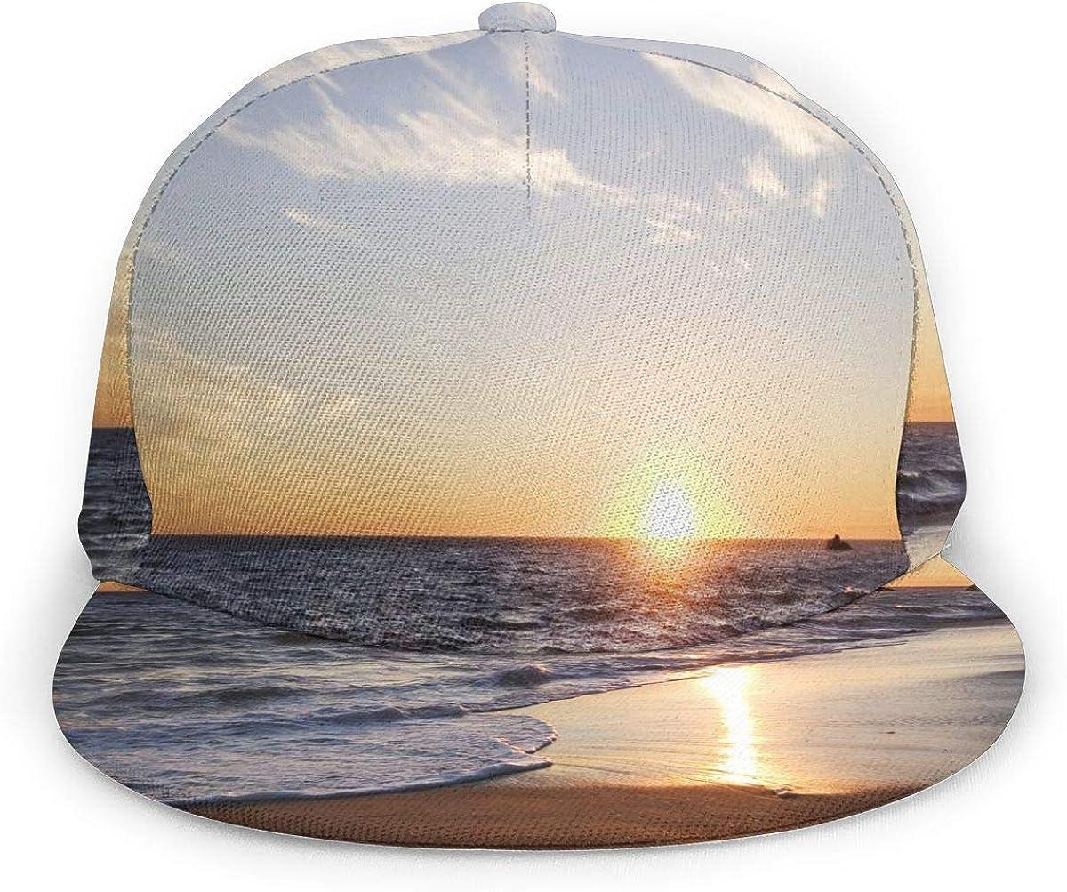 Ocean Waves Sunset Pattern Lightweight Unisex Baseball Caps Adjustable Breathable Sun Hat for Sport Outdoor Black
