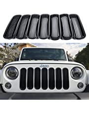 Bolaxin New Cool Bars Style Black Trim Grill Insert Cover Mesh Frame for 2007-2016 Jeep JK Wrangler - 7 Pieces
