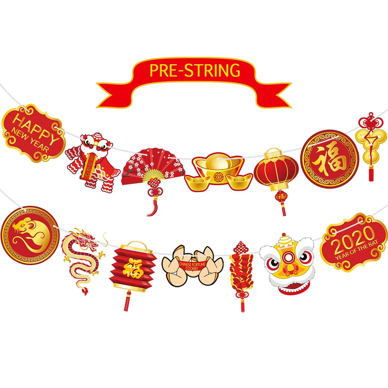 Blulu Pancarta de A/ño Nuevo Chino Banderines de Fiesta China Guirnalda de A/ño de Rata Foto Props Fondo de Mesa Cartel de A/ño Nuevo Chino para Decoraci/ón de Fiesta