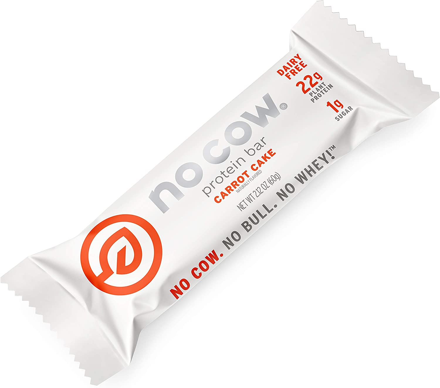 No Cow Protein Bar, Carrot Cake, 22g Plant Based Protein, Keto Friendly, Low Carb, Low Sugar, Dairy Free, Gluten Free, Vegan, High Fiber, Non-GMO, 12 Count