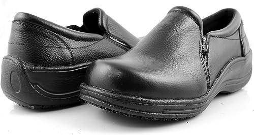 Laforst Rachel 7003 Womens Leather Slip Resistant Server Waitress Slip On Clog Black Multi 7