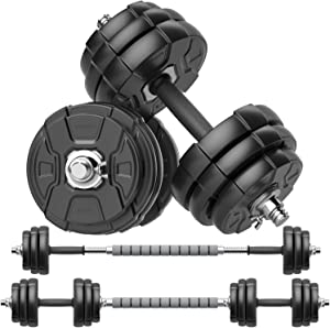 RUNWE Adjustable Dumbbell Barbell Set, Free Weight Set with Steel Connector at Home/Office/Gym Fitness Workout Exercises Training, All-Purpose for Men/Women/Beginner/Pro