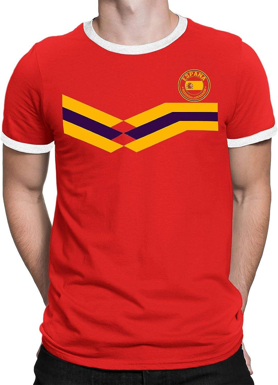 Tee Spirit Spain Camiseta Para Hombre World Cup 2018 Fútbol New Style Retro: Amazon.es: Ropa y accesorios