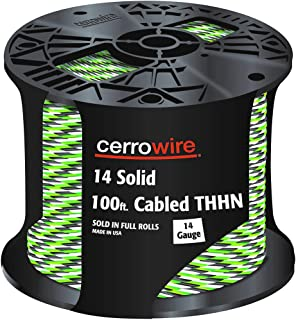product image for CERRO 112-141253C 100-Feet 14 Gauge Solid Cabled THHN Black, White and Green Wire, 100-Foot, 100 Ft