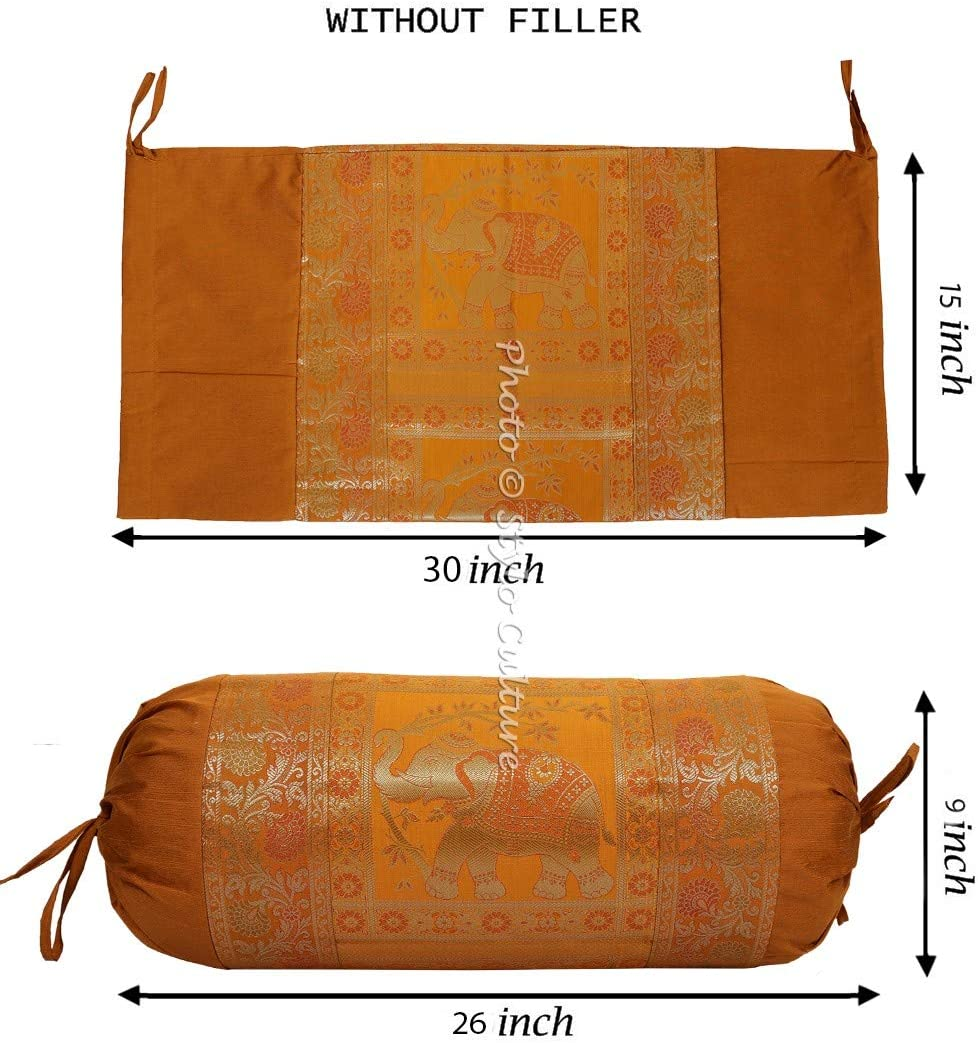 Stylo Culture Indian Polydupion Cylindrical Tubular Bolster Pillow Cover For Bed Brown Jacquard Brocade Border Elephant Large Diwan Cylinder Pillow Cushion Cover   30x15 Inches 1 Pc 76x38 cm