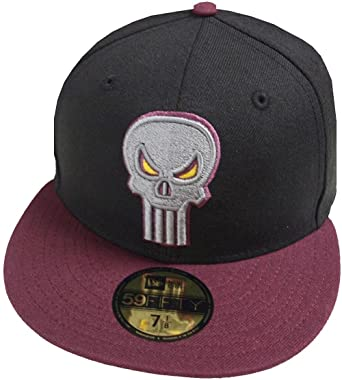 Amazon.com  New Era Punisher Black Maroon Marvel DC Cap 59fifty 5950 Fitted  Basecap Kappe Men Special Limited Edition  Clothing 0f848031234f