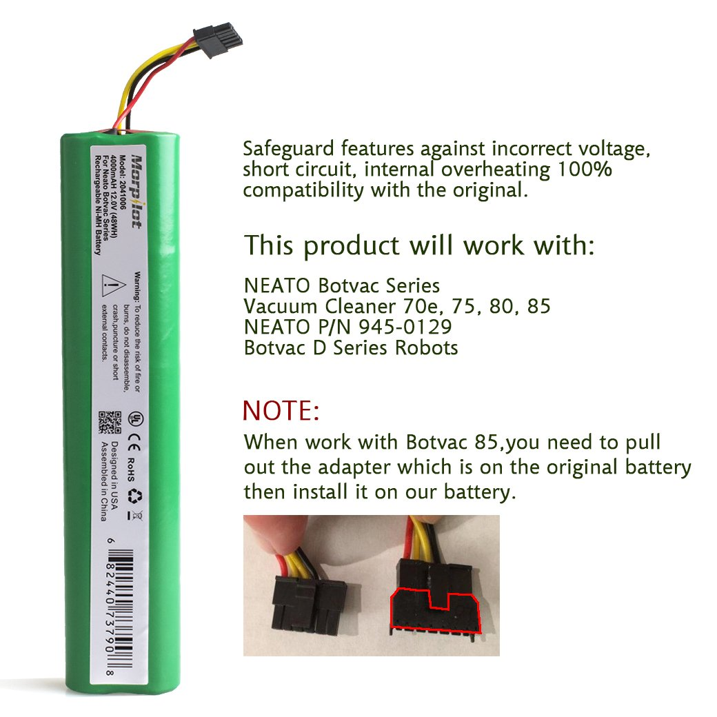 Morpilot 12v 4000mah Extended Nimh Battery For Neato Wiring Batteries In Series Botvac 70e 75 80 85 Robotic Vacuum 945 0129 0174not Compatible With D3